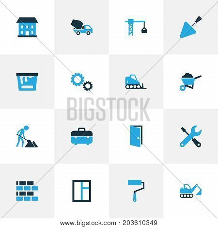 Building Colorful Icons Set. Collection Of Gear, Glass, Screwdriver And Other Elements