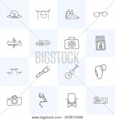 Set Of 16 Editable Trip Doodles. Includes Symbols Such As Camp House, Camper, Seat And More