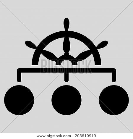 Ship Wheel Hierarchy vector icon. Flat black symbol. Pictogram is isolated on a light gray background. Designed for web and software interfaces.