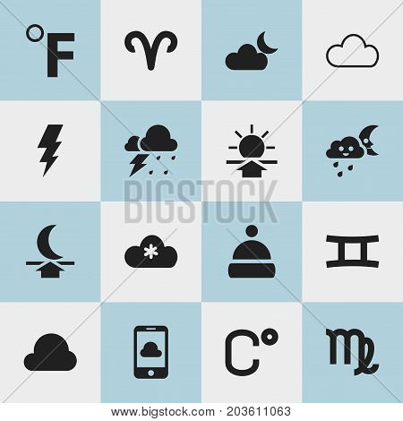 Set Of 16 Editable Climate Icons. Includes Symbols Such As Virgin, Celsius, Storm And More