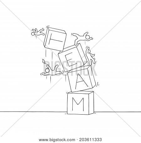 Sketch of little people with broken pyramid. Doodle cute miniature scene of workers about teamwork failure. Hand drawn cartoon vector illustration for business and finance design.