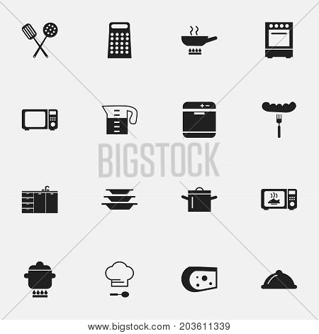 Set Of 16 Editable Cook Icons. Includes Symbols Such As Stewpot, Water Jug, Stove And More