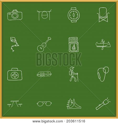 Set Of 16 Editable Travel Doodles. Includes Symbols Such As Campfire Cooking, Eyeglasses, Flammable Stick And More