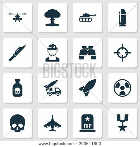 Warfare Icons Set. Collection Of Ordnance, Target, Panzer And Other Elements