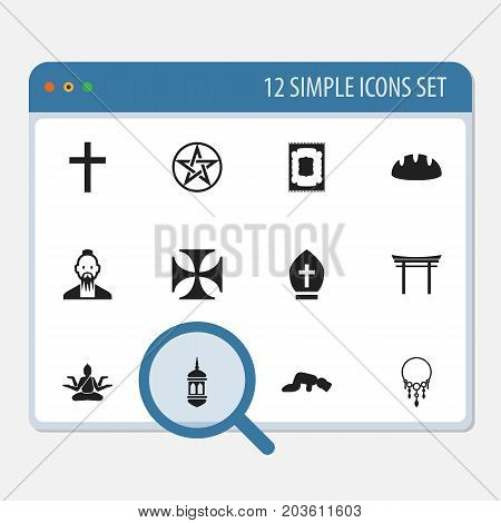 Set Of 12 Editable Religion Icons. Includes Symbols Such As Minaret, Clergyman, Sajdah And More