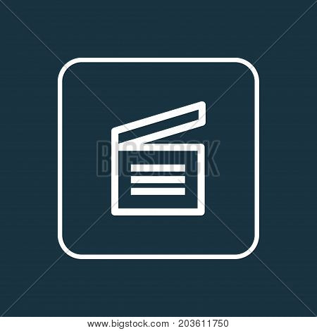 Premium Quality Isolated Clapperboard Element In Trendy Style.  Movie Clap Outline Symbol.