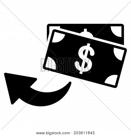 Cashback vector icon. Flat black symbol. Pictogram is isolated on a white background. Designed for web and software interfaces.