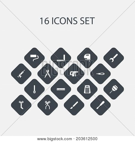 Set Of 16 Editable Tools Icons. Includes Symbols Such As Brush, Pliers, Retractor And More