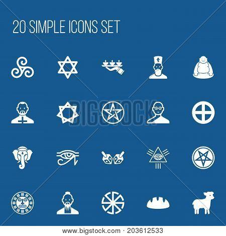 Set Of 20 Editable Religion Icons. Includes Symbols Such As Mandala, Baphomet Symbol, Indian Elephant