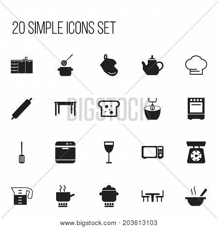 Set Of 20 Editable Cooking Icons. Includes Symbols Such As Baguette, Dining Table, Prepare Meal And More