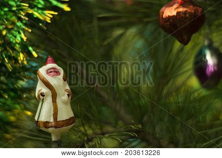 Vintage glass Christmas tree toy: Ded Moroz (