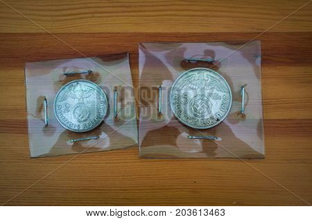 Old German coins, 2 and 5 Marks, WWII