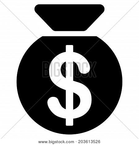 Money Bag vector icon. Flat black symbol. Pictogram is isolated on a white background. Designed for web and software interfaces.