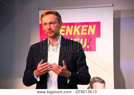 MAGDEBURG, GERMANY - September 10: Christian Lindner, leader of the liberal Free Democratic Party of Germany (FDP), during during a speech in Magdeburg. German Election 2017.  (Bundestagswahl)