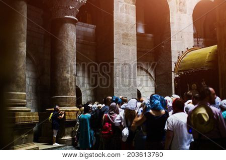 JERUSALEM, ISRAEL -8.09.2017: Pilgrims and tourists are waiting to enter Aedicule in Church of the Holy Sepulchre, the world greatest Christian shrine in Jerusalem, Israel