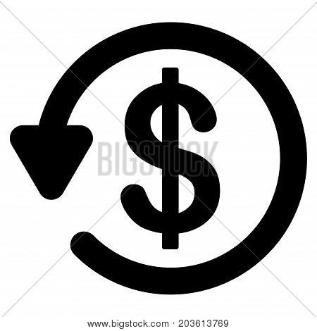 Refund vector icon. Flat black symbol. Pictogram is isolated on a white background. Designed for web and software interfaces.