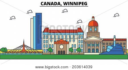Canada, Winnipeg. City skyline: architecture, buildings, streets, silhouette, landscape, panorama, landmarks. Editable strokes. Flat design line vector illustration concept. Isolated icons