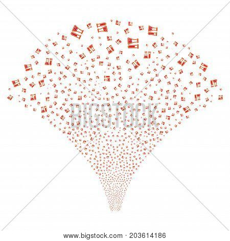 Source stream of chemistry symbols. Vector illustration style is flat intensive red and orange iconic symbols on a white background. Object salute made from confetti symbols.