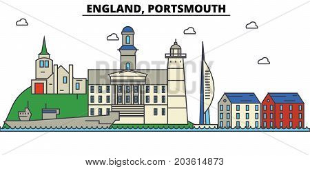 England, Portsmouth. City skyline: architecture, buildings, streets, silhouette, landscape, panorama, landmarks. Editable strokes. Flat design line vector illustration concept. Isolated icons