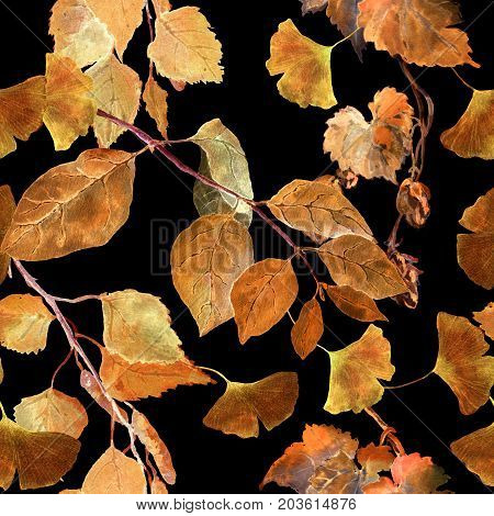 Yellow autumn leaves at black background. Seamless contrast autumn pattern. Watercolor
