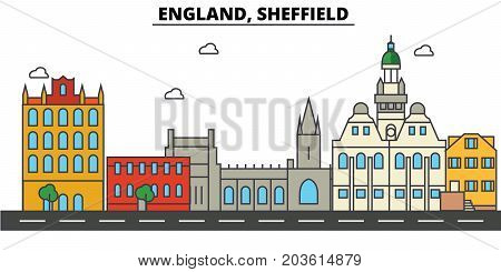 England, Sheffield. City skyline: architecture, buildings, streets, silhouette, landscape, panorama, landmarks. Editable strokes. Flat design line vector illustration concept. Isolated icons