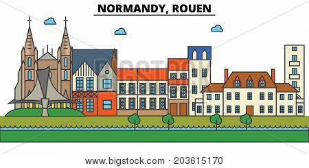 France, Rouen, Normandy. City skyline: architecture, buildings, streets, silhouette, landscape, panorama, landmarks. Editable strokes. Flat design line vector illustration concept. Isolated icons