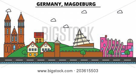 Germany, Magdeburg. City skyline: architecture, buildings, streets, silhouette, landscape, panorama, landmarks. Editable strokes. Flat design line vector illustration concept. Isolated icons