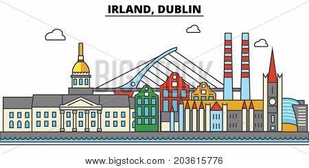 Irland, Dublin. City skyline: architecture, buildings, streets, silhouette, landscape, panorama, landmarks. Editable strokes. Flat design line vector illustration concept. Isolated icons