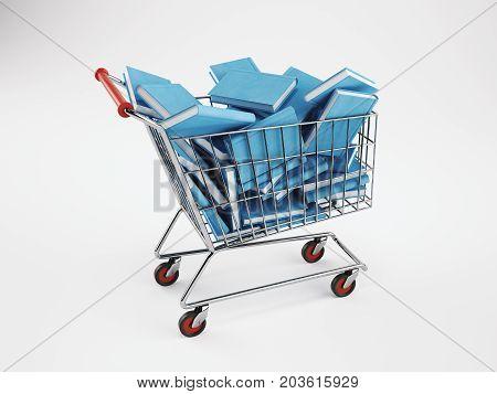 Shopping cart full of books. School, online orders concept. 3D Rendering