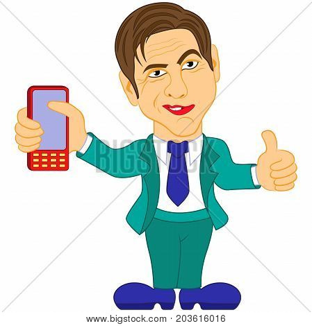 Gentleman Holds The Mobile Phone