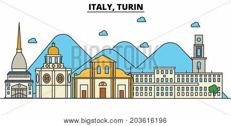 Italy, Turin. City skyline: architecture, buildings, streets, silhouette, landscape, panorama, landmarks. Editable strokes. Flat design line vector illustration concept. Isolated icons