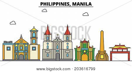 Philippines, Manila. City skyline: architecture, buildings, streets, silhouette, landscape, panorama, landmarks. Editable strokes. Flat design line vector illustration concept. Isolated icons