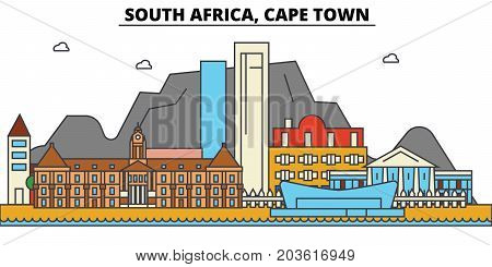 South Africa, Cape Town. City skyline: architecture, buildings, streets, silhouette, landscape, panorama, landmarks. Editable strokes. Flat design line vector illustration concept. Isolated icons