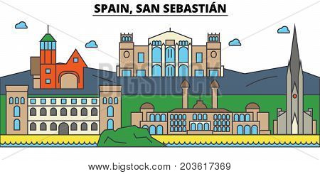 Spain, San Sebastian. City skyline: architecture, buildings, streets, silhouette, landscape, panorama, landmarks. Editable strokes. Flat design line vector illustration concept. Isolated icons