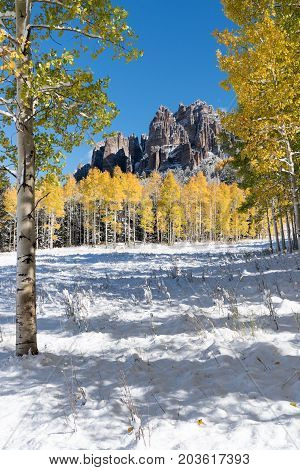 High Mesa Pinnacles in Cimarron Valley Colorado after an early Autumn Snow  Storm.