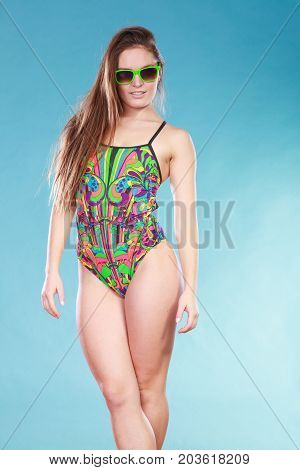 Woman Girl In Swimsuit. Summer Holiday.