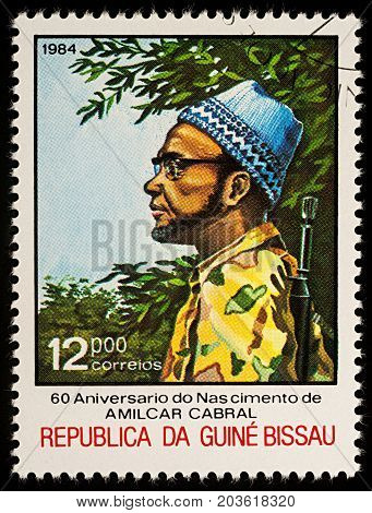 Moscow Russia - September 10 2017: A stamp printed in Guinea-Bissau shows Amilcar Cabral political leader series