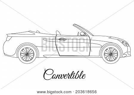 Convertible car body type outline vector illustration