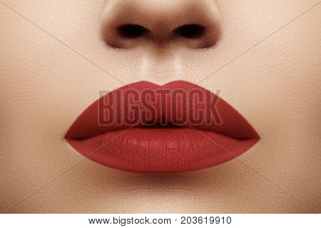 Cosmetics, Makeup. Bright Lipstick On Lips. Closeup Of Beautiful Female Mouth With Red Lip Makeup. C