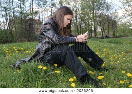 Teenage Girl Sending An Sms