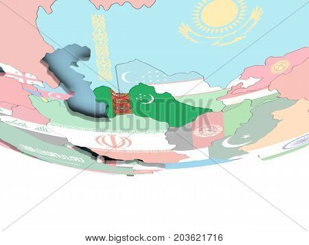 Map Of Turkmenistan With Flag On Globe