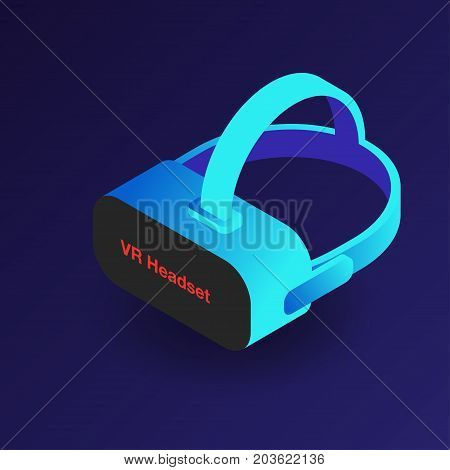 Vr Headset. Isometric 3D Virtual Reality Glasses. Modern Digital Cyberspace Technology
