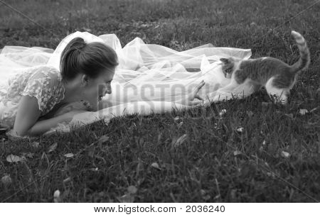 Beautiful Bride And Kitten