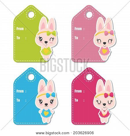 Cute bunny girls on colorful background vector cartoon illustration for baby shower gift tag design, label tag and stciker set design
