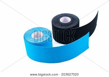 black and blue kinesiology tape. Physiotherapy and therapeutic tape for wrist pain, aches and tension. elastic therapeutic tape. adhesive tape and alternative medicine. poster