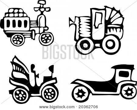 Retro cartoon cars (vector)
