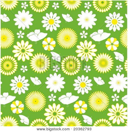 Seamless daisy pattern with butterfly
