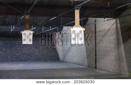 Close up of target rows at a shooting range.