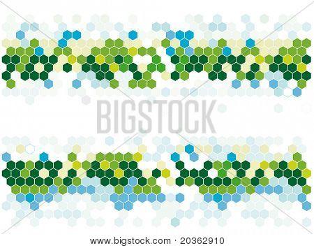 Hexagonal mosaic in nature colors