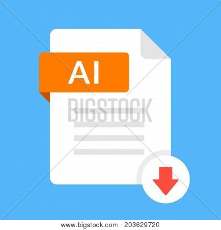 Download AI icon. File with AI label and down arrow sign. Downloading document concept. Flat design vector icon